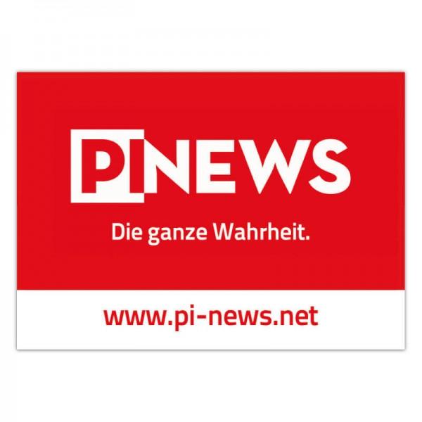 """Aufkleber: """"PI News – die ganze Wahrheit"""""""