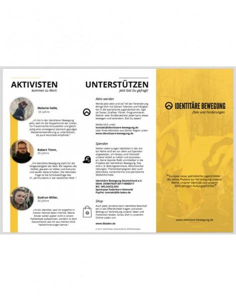 """Vorstellungsfaltblatt """"Identitäre Bewegung"""""""