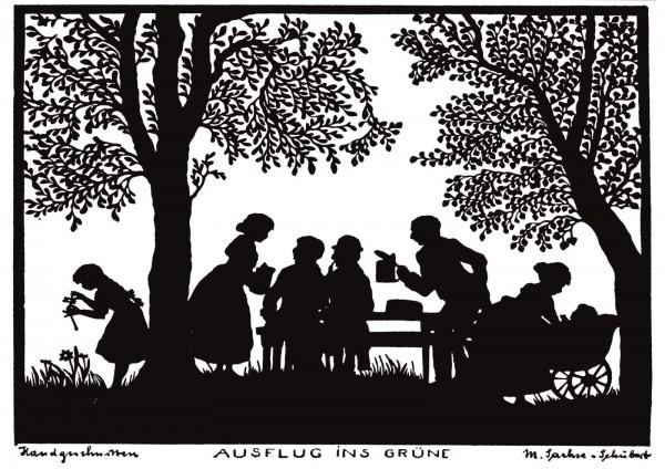 Postkarte: Ausflug ins Grüne (Martha Sachse-Schubert)