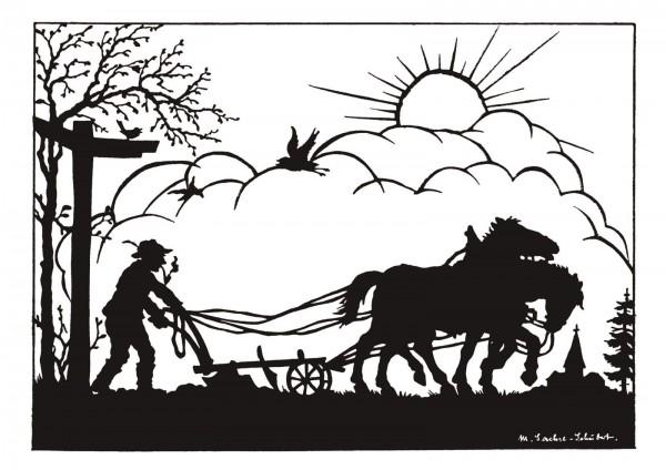 Postkarte: Feldarbeit (Martha Sachse-Schubert)