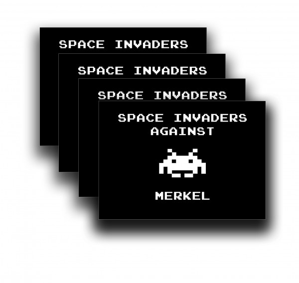 Aufkleber: Space Invaders against Merkel (50 Stück)